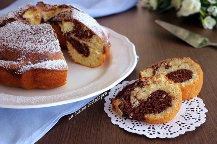 ciambellone bicolore vaniglia e cacao senza burro e olio