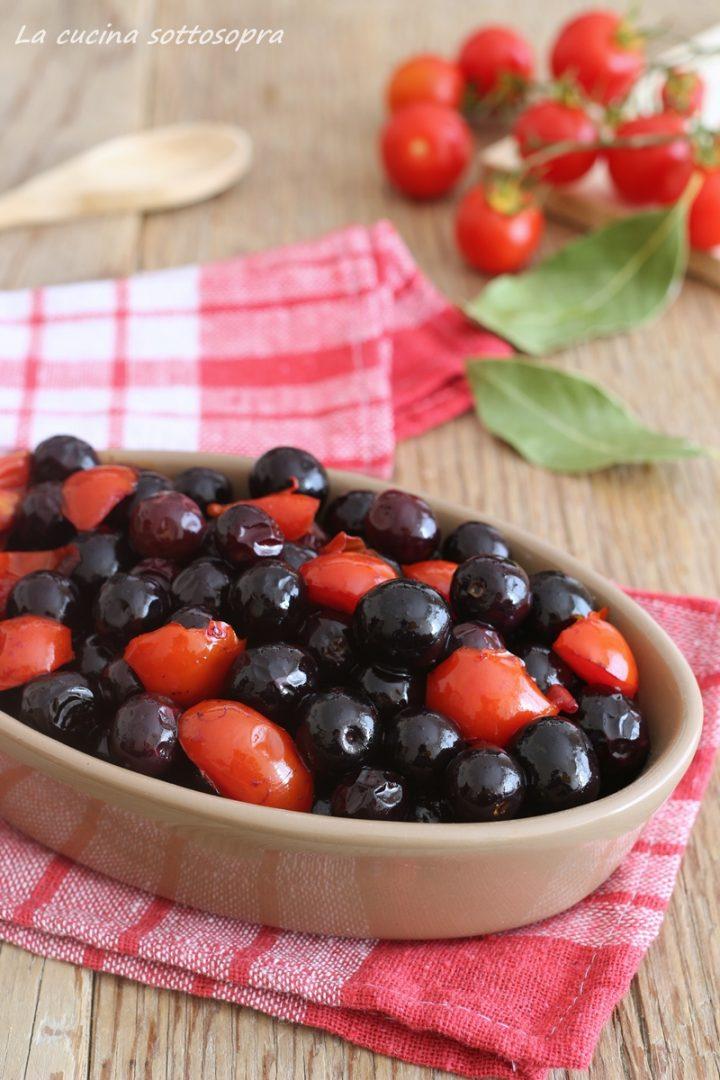 olive nere fritte con pomodorini
