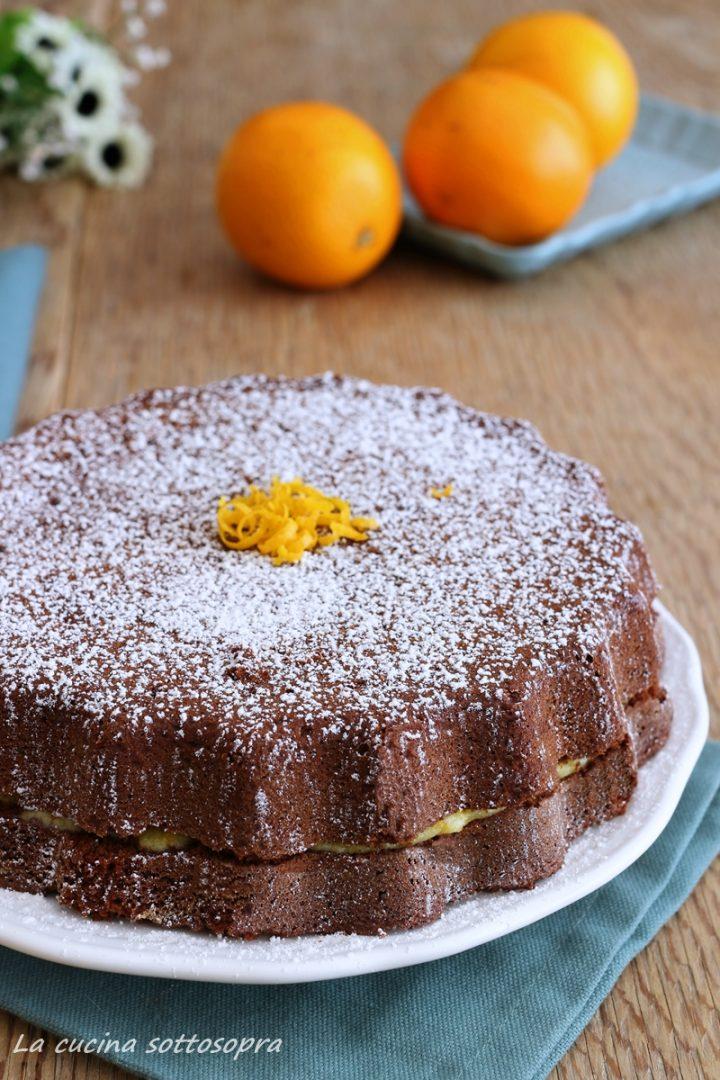torta al cioccolato solo albumi senza lattosio con crema all'arancia