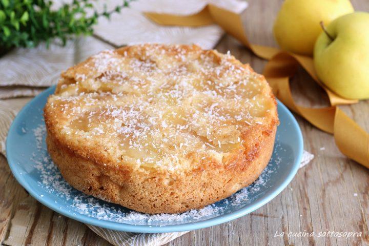 torta rovesciata di mele al cocco