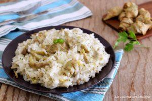 risotto carciofi e pecorino vegetariano