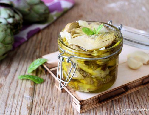 Carciofi sott'olio aglio e menta -ricetta pugliese