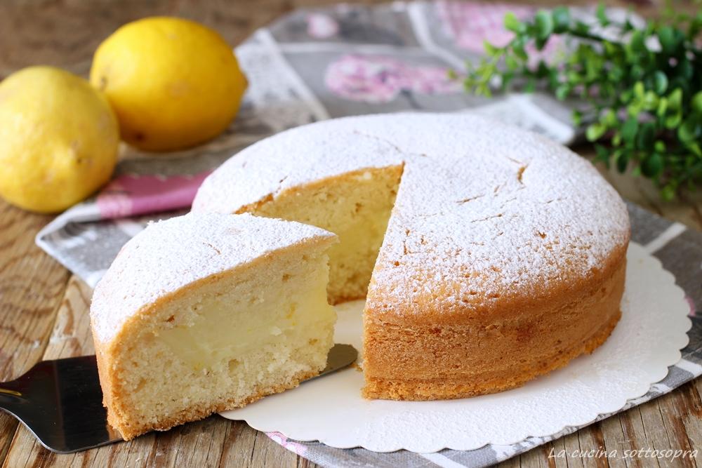 torta ripiena di crema al limone senza burro