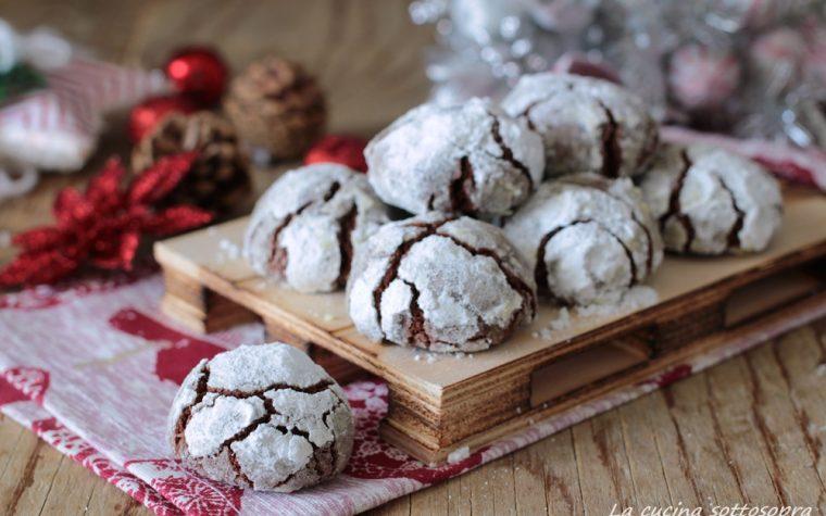 Chocolate crinkles cookies – biscotti di Natale al cioccolato con e senza Bimby