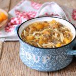 minestra di zucca e lenticchie vegetariana