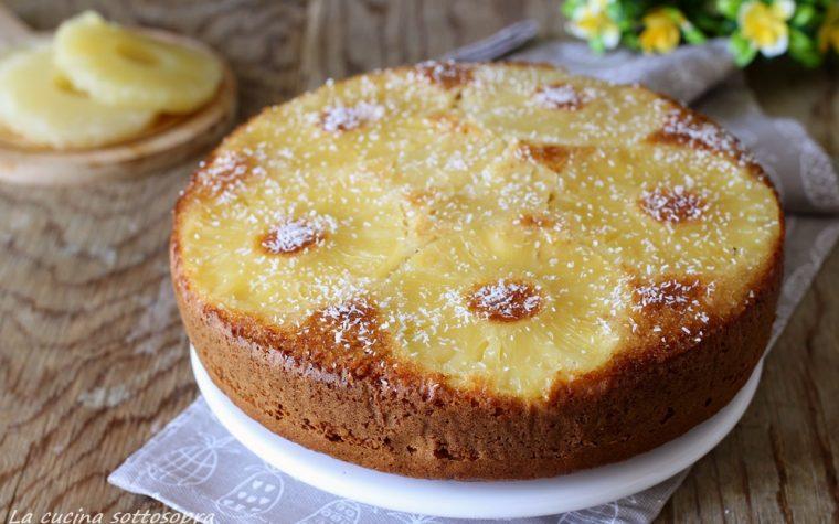 Torta rovesciata all'ananas e cocco – senza burro