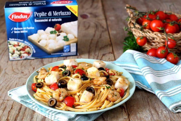 pasta con pepite di merluzzo