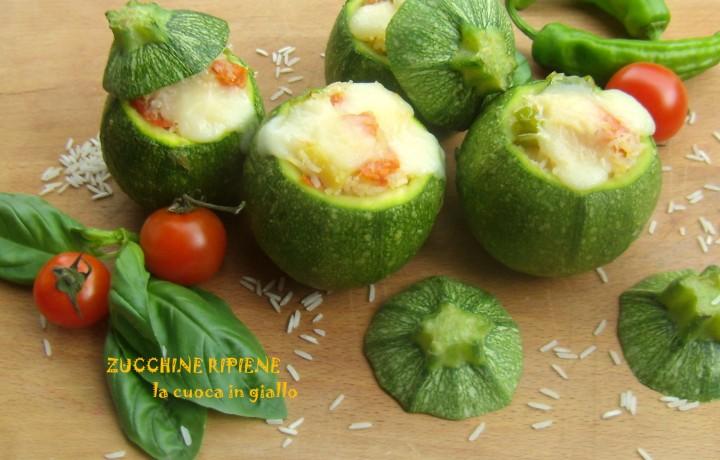 Zucchine ripiene di riso e verdure