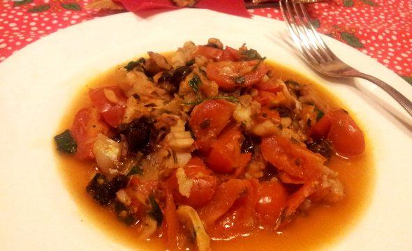 Merluzzo in guazzetto e pomodorini