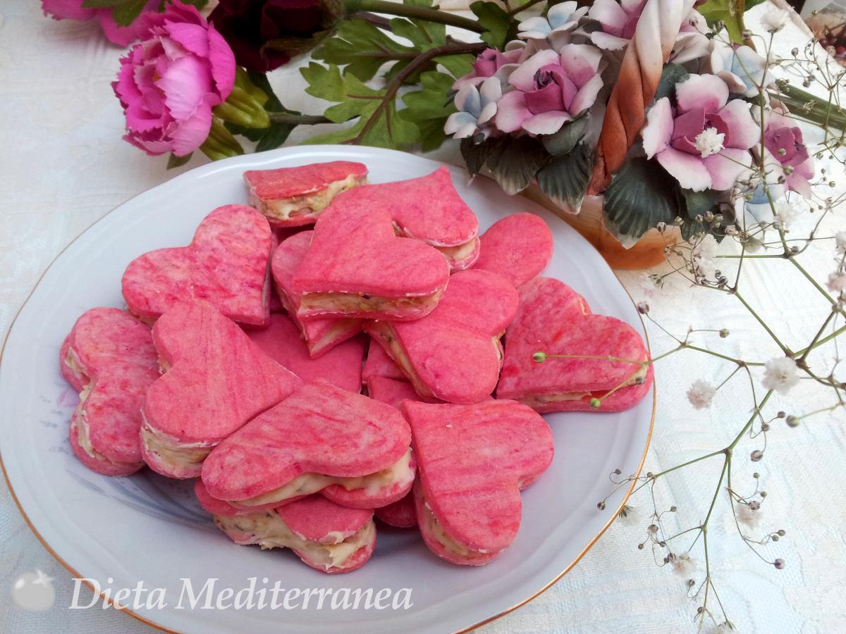 Biscotti Cuori panna cioccolato e pistacchio by Dieta Mediterranea