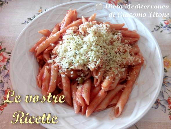 Pennette con pomodoro, mollica e aglio - Foto Fan di Giacomo Titone by Dieta Mediterranea