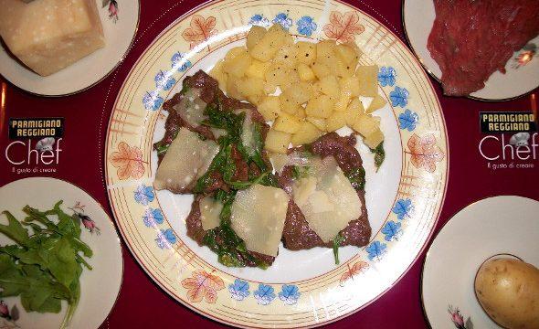 Scaloppine di Vitello con Parmigiano, rucola e aceto balsamico