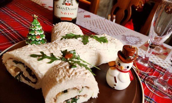 Tronchetto di Natale SALATO con Tonno, Olive e Rucola