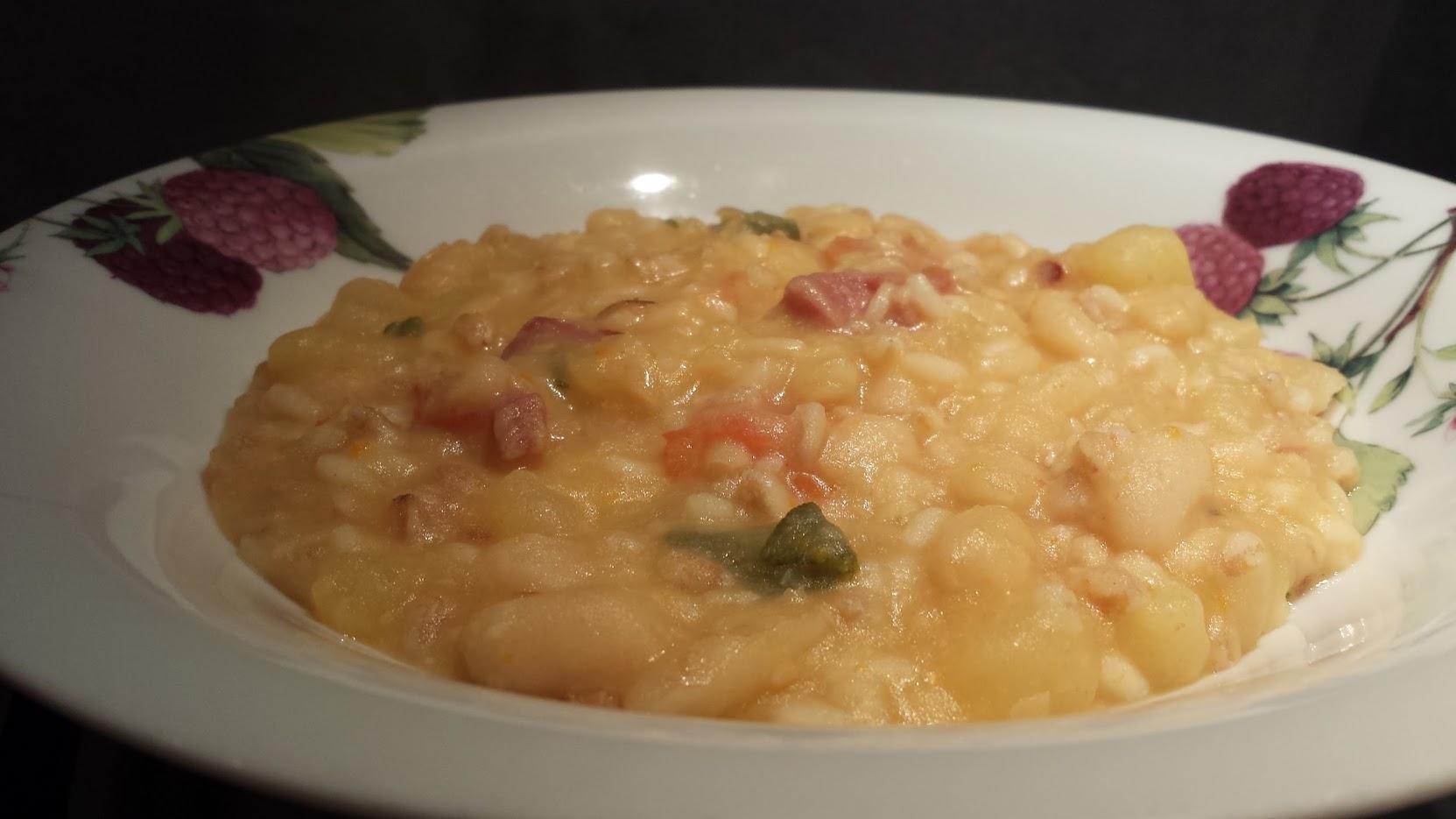 Le ricette della Lady: zuppa di cereali con patate e fagioli cannellini