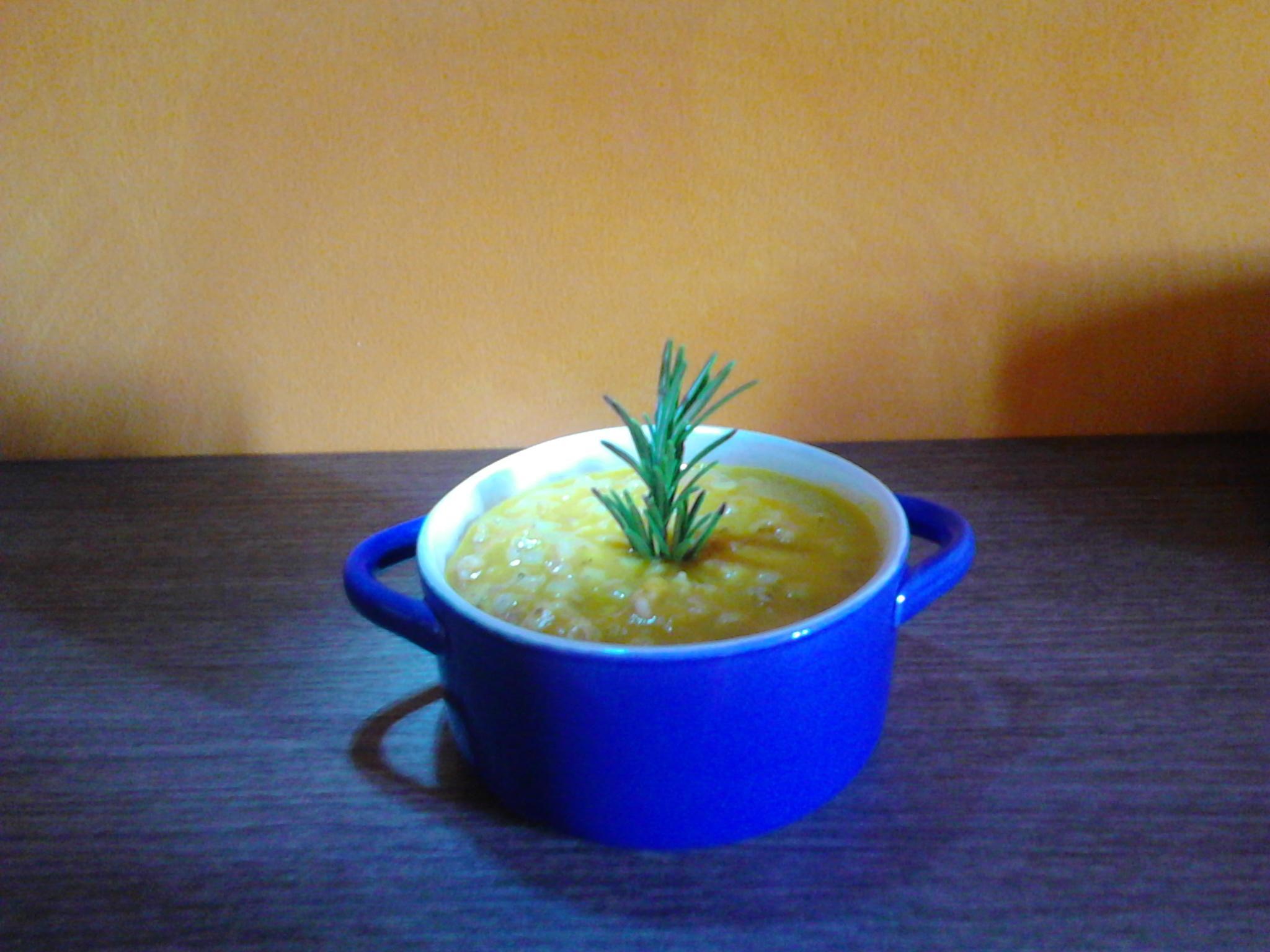 Zuppa di farro con crema di zucca