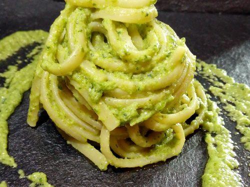 Linguine di Gragnano con pesto di zucchine e limone