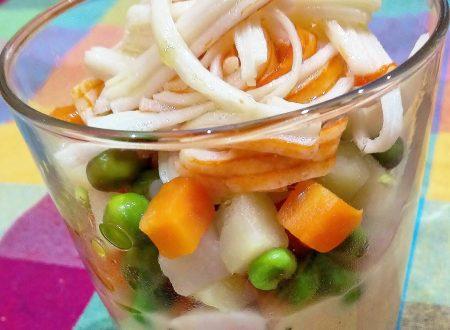 Fantasia di verdure e surimi  con crema di cannellini