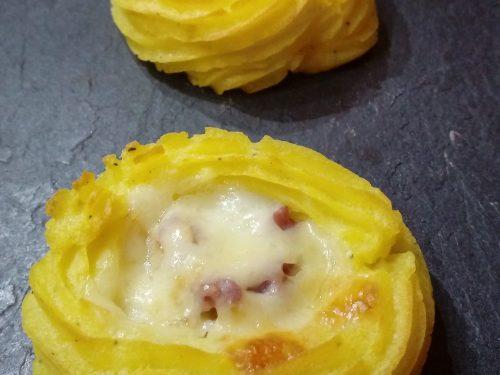 Nidi di patate pancetta affumicata e asiago