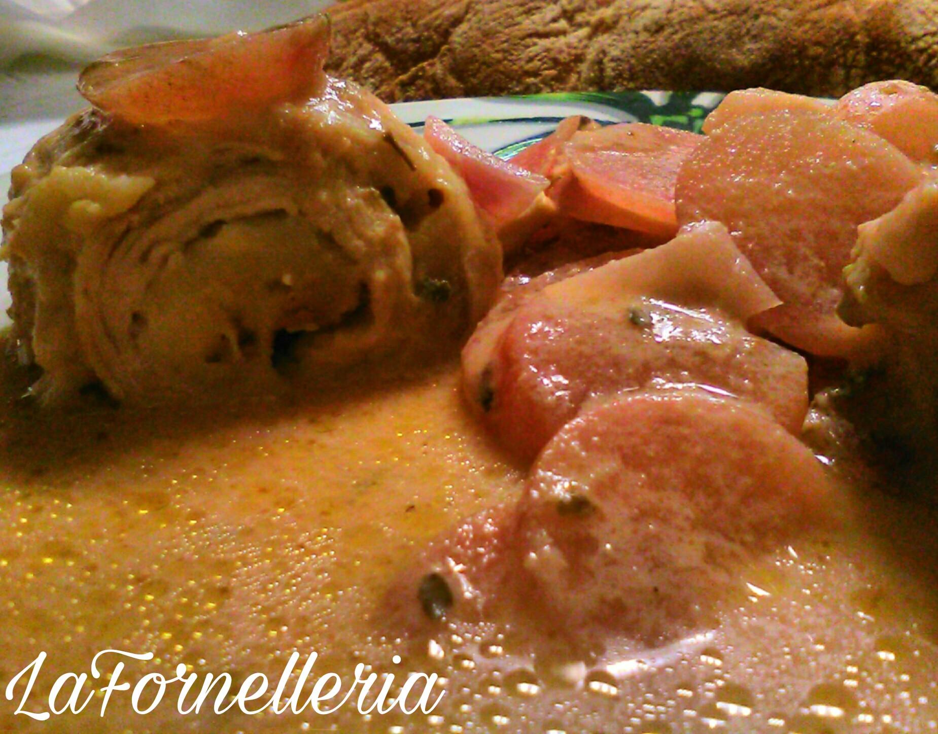 Involtini di pollo alla senape con ravanelli