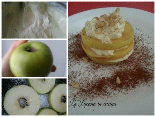 Millefoglie di mela con crema chantilly e pinoli