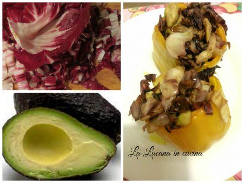 Peperoni ripieni con radicchio e avocado