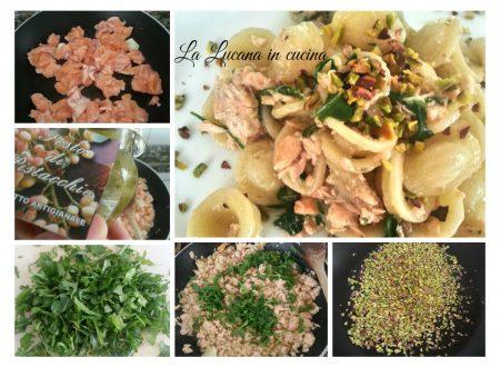 Orecchiette con salmone, pistacchio e rucola