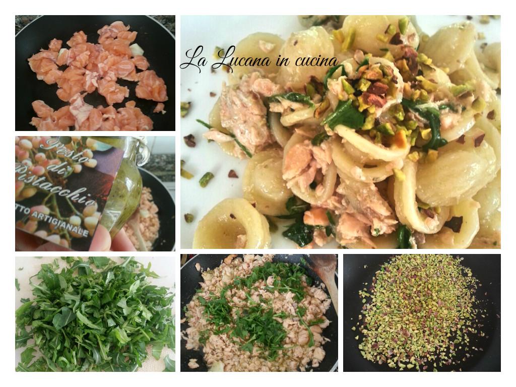 orecchiette salmone pistacchio e rucola
