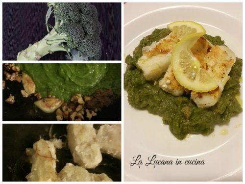 Nasello alla piastra su crema di broccoli e noci