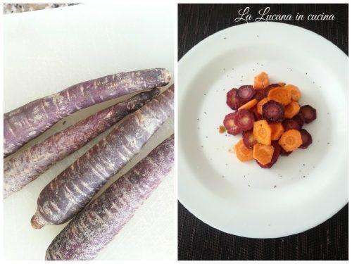 Carote viola e arancioni alla soia