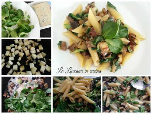 Pasta con melanzane, valeriana e gorgonzola