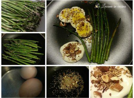 Uova sode con asparagi, mandorle e sesamo