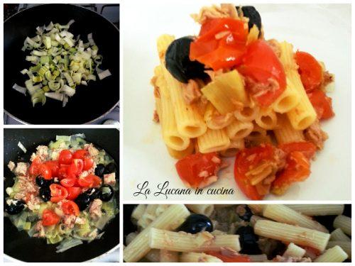 Pasta porri, pomodorini e tonno