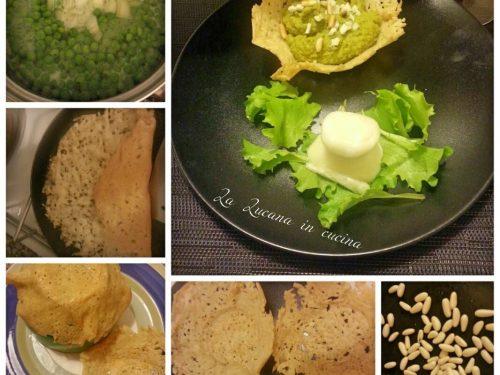 Cestini di parmigiano con crema di piselli ai pinoli