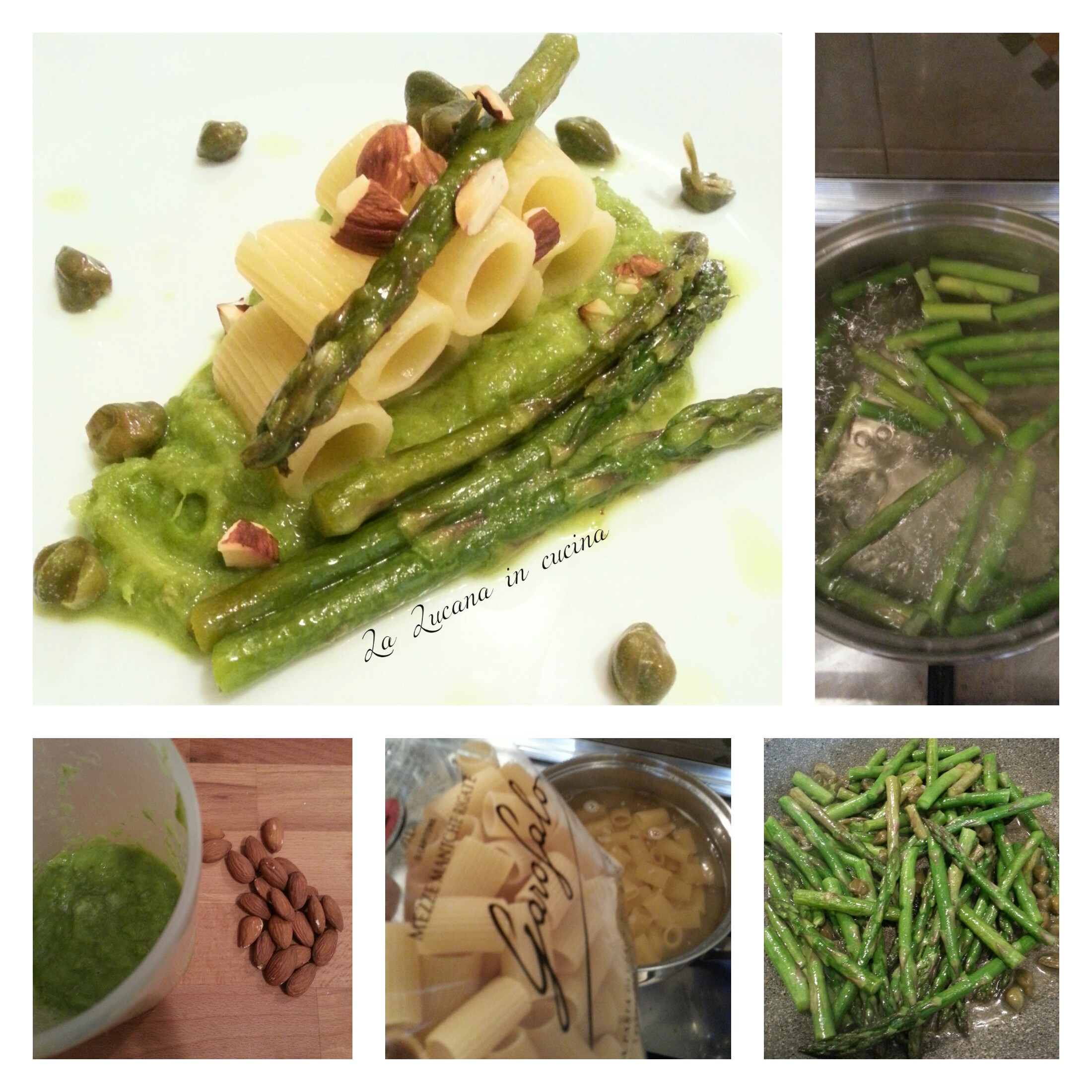 Pasta con asparagi capperi e mandorle