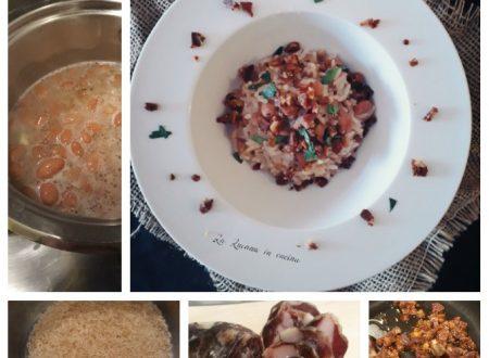 Risotto con fagioli e salsiccia di cinghiale croccante