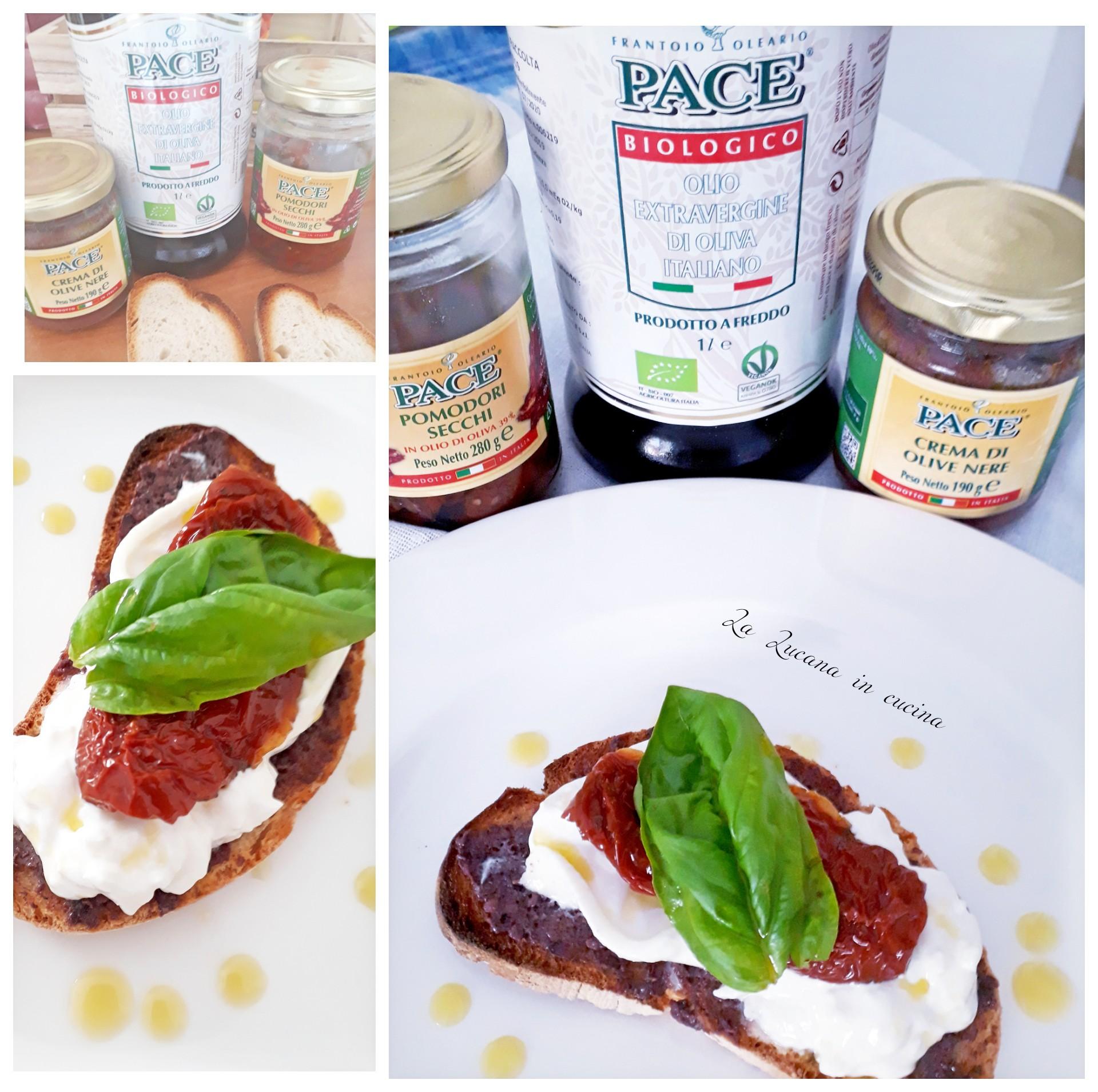 bruschetta con crema di olive burrata e pomodori secchi