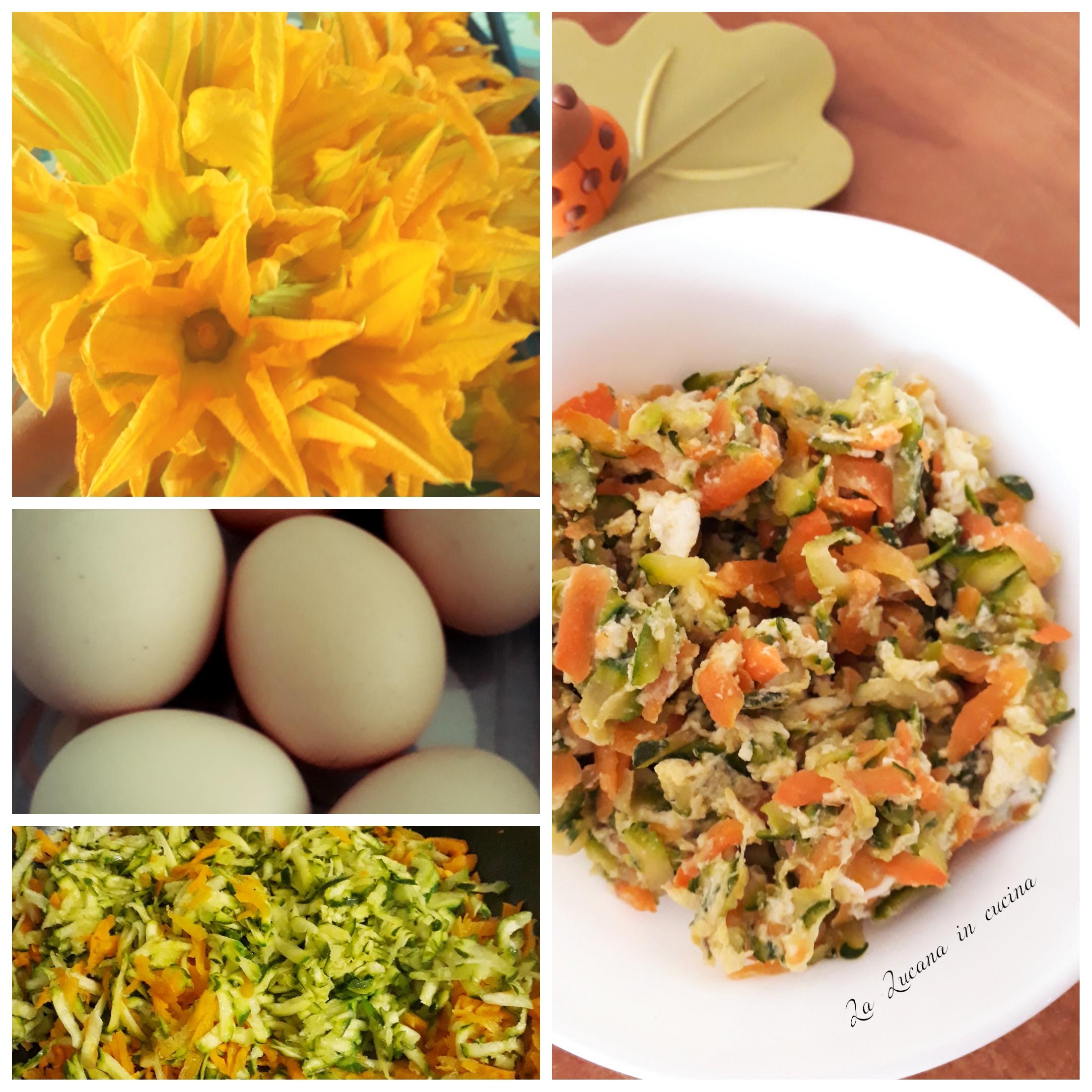 uova strapazzate con zucchine fiori di zucca e carote