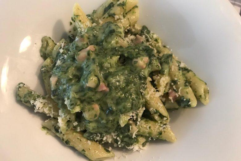 Penne spinaci e pancetta.