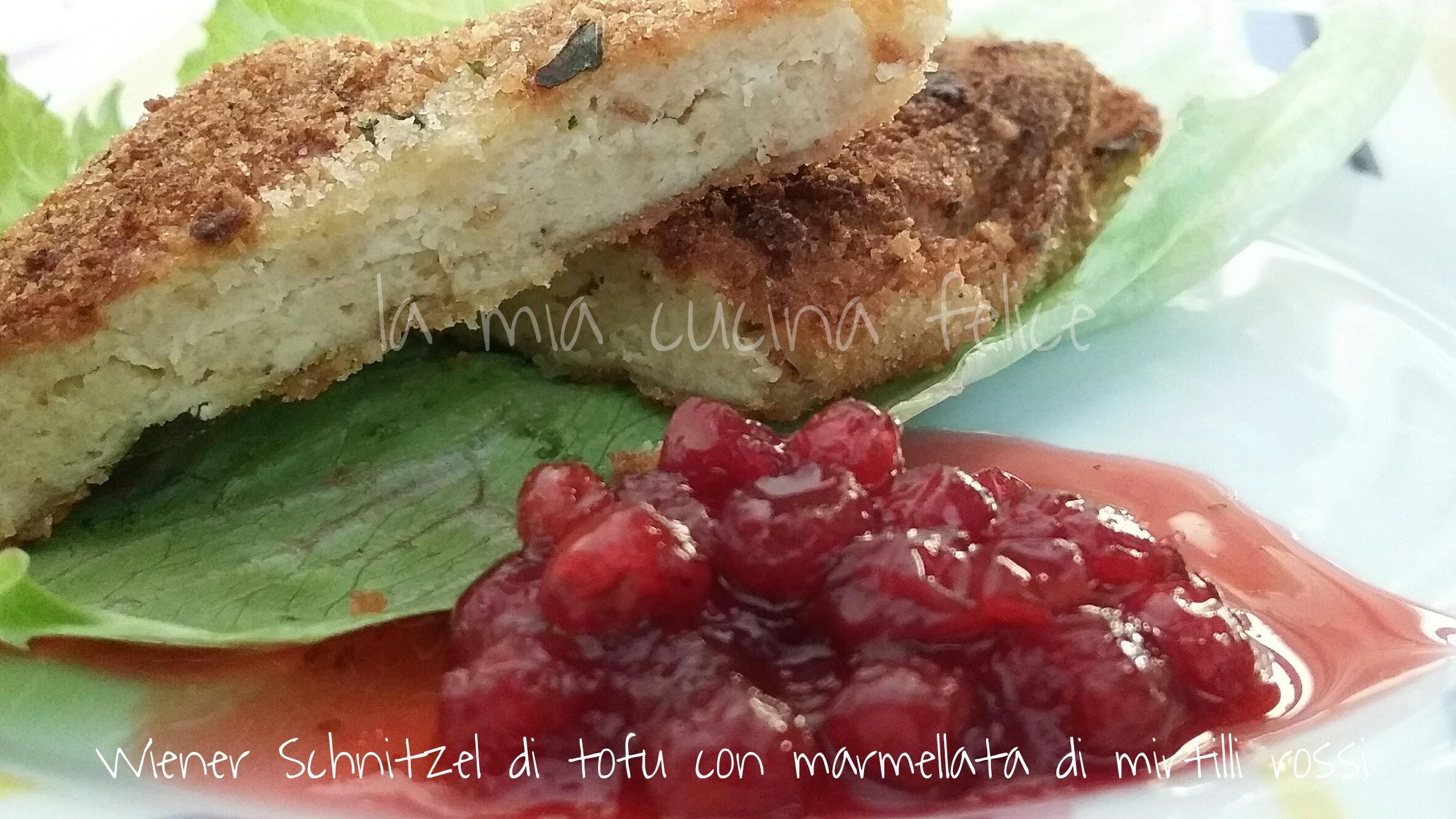 Wiener Schnitzel di tofu con marmellata di mirtilli rossi