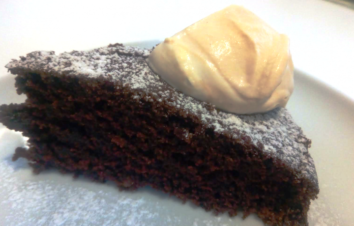 Bitter flourless chocolate cake with coffee cream