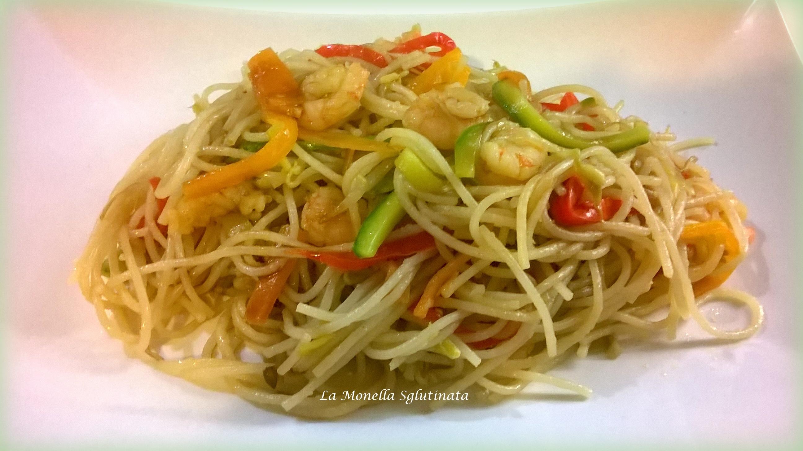 Spaghetti di riso basmati integrale con verdurine