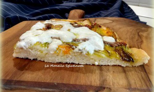 Pizza bianca con fiori di zucca,burrata e acciughe