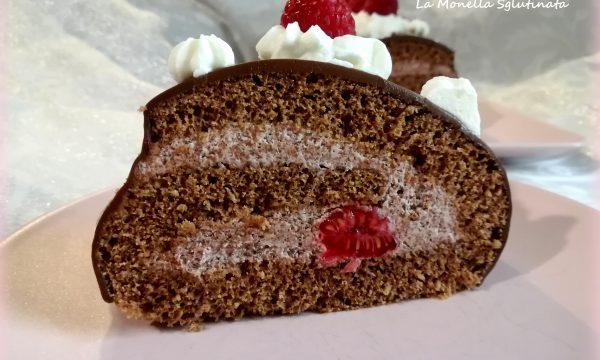 Rotolo al cacao lamponi e panna senza glutine