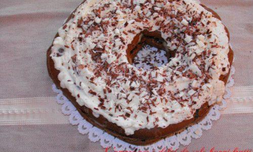 Torta bignè al cacao e crema alla pera