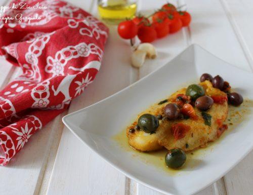 Filetto di pangasio pomodorini e olive