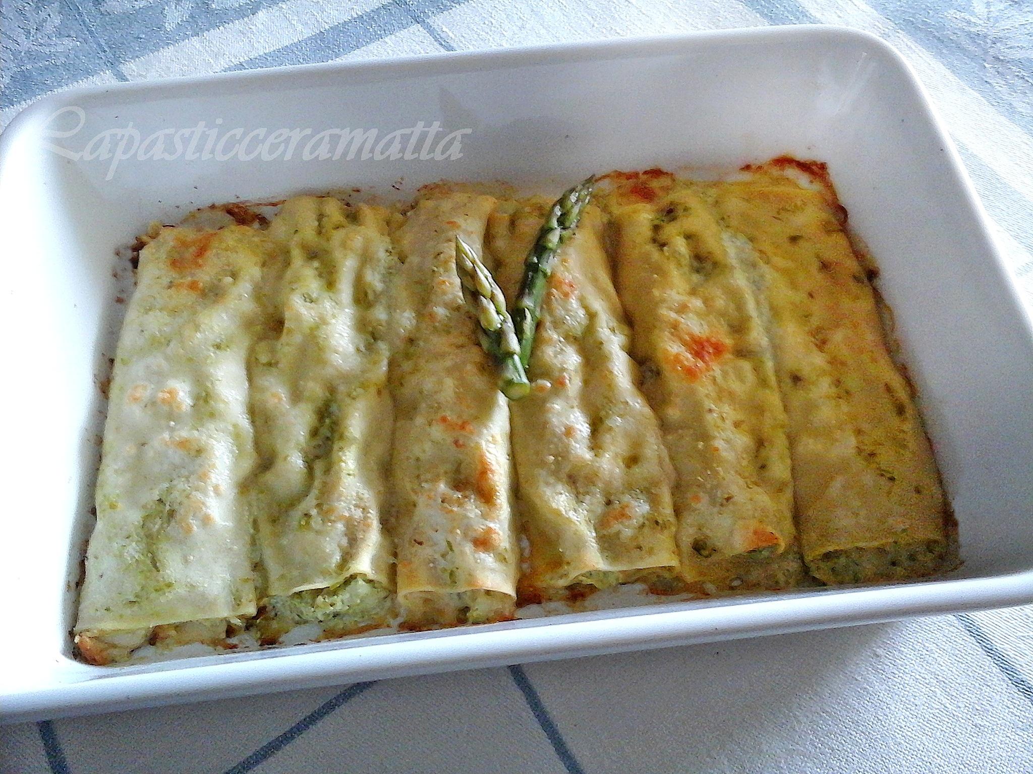 Cannelloni crema di asparagi e scamorza affumicata, il ripieno è senza besciamella, ricotta e asparagi e scamorza affumicata
