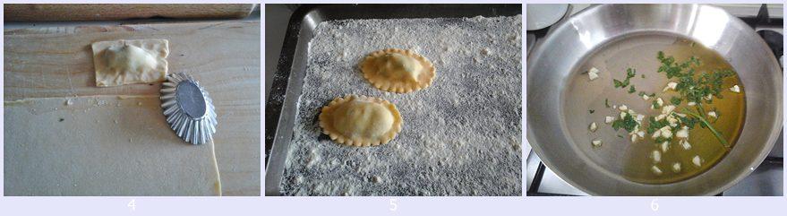 Ravioli ripieni di patate e rucola con vongole