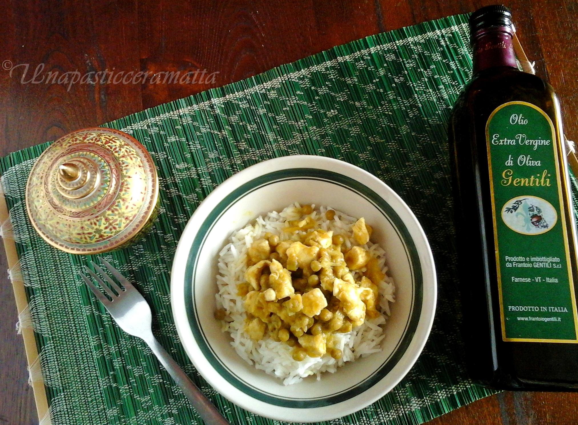 Pollo e verdure zenzero e curry con riso basmati