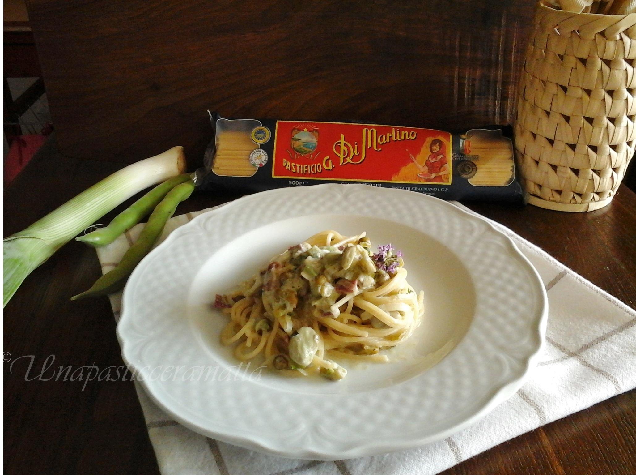 "Spaghetti ""baccelli"", piselli e porri"