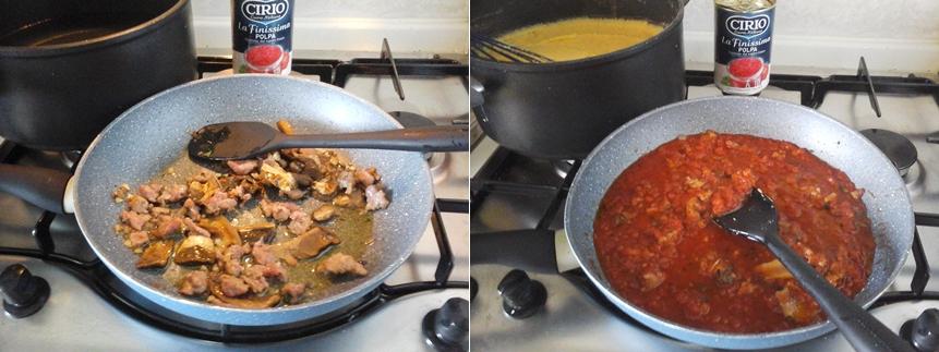 Polenta con salsa di porcini e salsiccia (ricetta toscana )